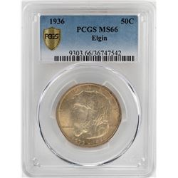 1936 Elgin Commemorative Half Dollar Coin PCGS MS66