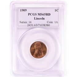 1909 Lincoln Wheat Cent Coin PCGS MS65RD