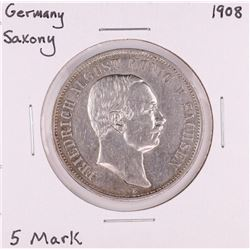 1908 Germany Saxony 5 Mark Silver Coin