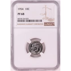 1954 Proof Roosevelt Dime Coin NGC PF68