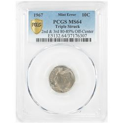 1967 Roosevelt Dime Coin Triple Struck Off Center ERROR PCGS MS64