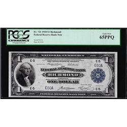 Low Serial 1918 $1 Federal Reserve Bank Note Richmond Fr.721 PCGS Gem New 65PPQ