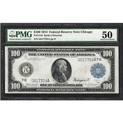 1914 $100 Federal Reserve Note Chicago Fr.1110 PMG About Uncirculated 50