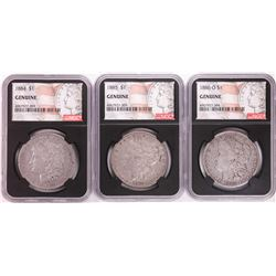Lot of 1884, 1885, & 1886-O $1 Morgan Silver Dollar Coins NGC Genuine