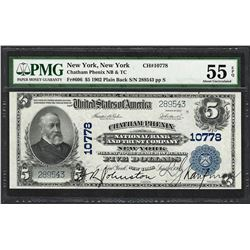 1902PB $5 Chatham Phenix New York, NY CH# 10778 National Note PMG About Unc. 55EPQ