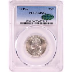 1935-S Washington Quarter Coin PCGS MS66 CAC