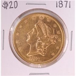 1871 Type 2 $20 Liberty Head Double Eagle Coin