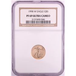 1998-W $5 Proof American Gold Eagle Coin NGC PF69 Ultra Cameo