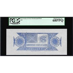 $20 Chemicograph Back Confederate Currency Note PCGS Superb Gem New 68PPQ