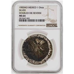 1983MO Mexico 1 Onza Silver Libertad Doubled Die Reverse Coin NGC MS64