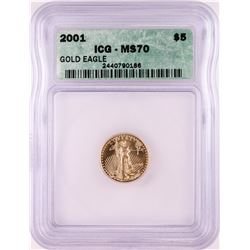2001 $5 American Gold Eagle Coin ICG MS70