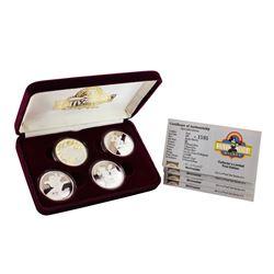 1989 Rarities Mint Disney Hollywood Mickey Limited Edition 4pc Silver Set w/Box & COA