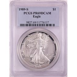 1989-S Proof $1 American Silver Eagle Coin PCGS PR69DCAM