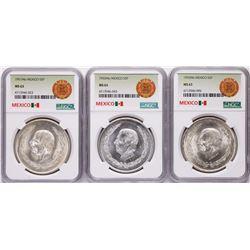 Lot of 1951Mo-1953Mo Mexico 5 Pesos Silver Coins NGC MS63