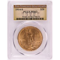 1914-S $20 St. Gaudens Double Eagle Gold Coin PCGS MS63 San Francisco Gold Hoard