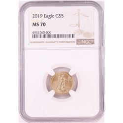 2019 $5 American Gold Eagle Coin NGC MS70
