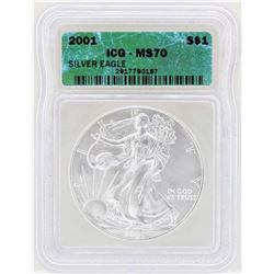 2001 $1 American Silver Eagle Coin ICG MS70