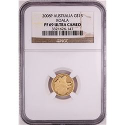 2008P $15 Australia Proof Koala Gold Coin NGC PF69 Ultra Cameo