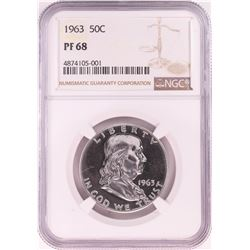 1963 Proof Franklin Half Dollar Coin NGC PF68