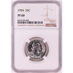 1954 Proof Washington Quarter Coin NGC PF69
