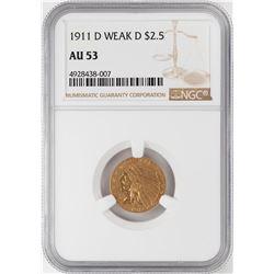 1911-D Weak D $2 1/2 Indian Head Quarter Eagle Gold Coin NGC AU53