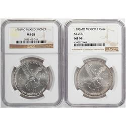 Lot of (2) 1993 MO Mexico Libertad 1 Onza Silver Coins NGC MS68