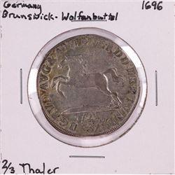 1696 Germany Brunswick-Wolfanbuttel 2/3 Thaler Silver Coin