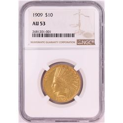 1909 $10 Indian Head Eagle Gold Coin NGC AU53