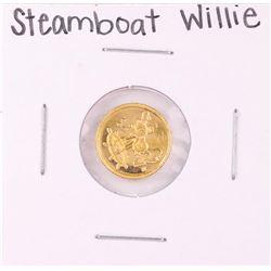 "Rarities Mint Disney Mickey ""Steamboat Willie"" 1 Gram .999 Fine Gold Round"