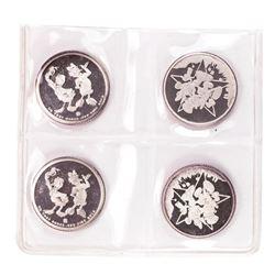 Lot of (4) Rarities Mint Assorted Test Sample Disney 4.1 Gram .999 Fine Silver Rounds