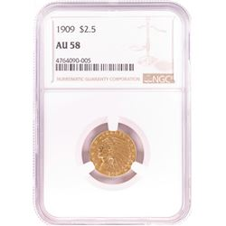 1909 $2 1/2 Indian Head Quarter Eagle Gold Coin NGC AU58