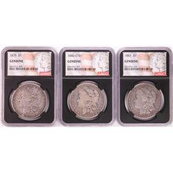 Lot of 1879, 1880-O, & 1881 $1 Morgan Silver Dollar Coins NGC Genuine