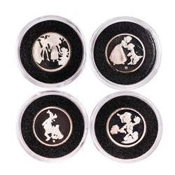 Lot of (4) Rarities Mint Assorted Disney 1/10 oz. .999 Fine Silver Rounds