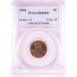 1916 Lincoln Wheat Cent Coin PCGS MS65RD