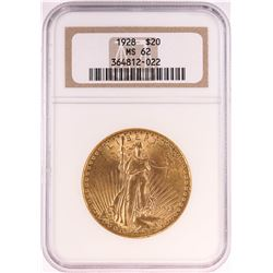 1928 $20 St. Gaudens Double Eagle Gold Coin NGC MS62