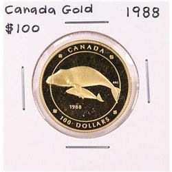 1988 Canada $100 Proof Bowhead Whale Gold Coin