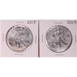Lot of 2018-2019 $1 American Silver Eagle Coins