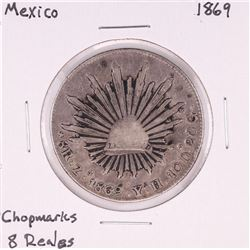 1869 Mexico 8 Reales Silver Coin Chopmarks