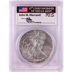 2014-W $1 American Silver Eagle Coin PCGS MS70 Mercanti Signature