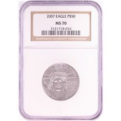 2007 $50 Platinum American Eagle Coin NGC MS70