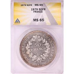 1979 France 50 Francs Hercules Silver Coin ANACS MS65