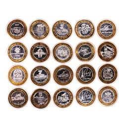Mixed Lot of (20) .999 Silver Casino $10 Limited Edition Gaming Tokens