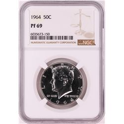 1964 Proof Franklin Half Dollar Coin NGC PF69