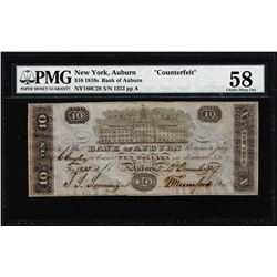 """1810's $10 Bank of Auburn NY """"Counterfeit"""" Obsolete Note PMG Ch. About Uncirculated 58"""