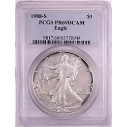 1988-S Proof $1 American Silver Eagle Coin PCGS PR69DCAM