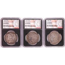 Lot of 1896-O, 1897-S, & 1898 $1 Morgan Silver Dollar Coins NGC Genuine