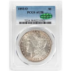 1893-O $1 Morgan Silver Dollar Coin PCGS AU58 CAC