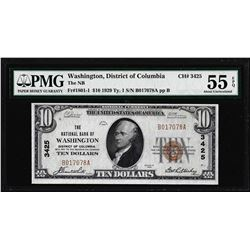 1929 $10 The NB Washington, D.C. CH# 3425 National Note PMG About Uncirculated 55EPQ