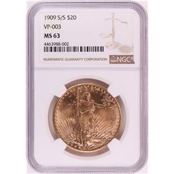 1909-S/S VP-003 $20 St. Gaudens Double Eagle Gold Coin NGC MS63