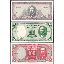 Lot of (3) Miscellaneous Banco De Chile Currency Notes